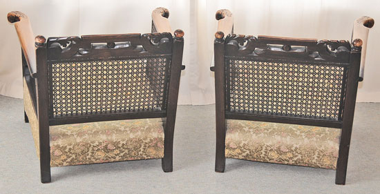 Bergere chairs Rear View